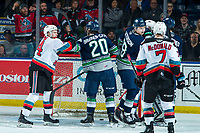 KELOWNA, BC - JANUARY 24: Conner Bruggen-Cate #20 of the Seattle Thunderbirds gets in the face of Kyle Topping #24 of the Kelowna Rockets at Prospera Place on January 24, 2020 in Kelowna, Canada. (Photo by Marissa Baecker/Shoot the Breeze)