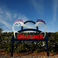 BOCA GRANDE, FL -- January 4, 2008 -- A sign marks an address  on Damficare St. in Boca Grande, Fla., on Sunday, January 4, 2008.  Boca Grande is a small Old-Florida community on Gasparilla Island, with no traffic lights, billboard or condo development, which attracts both seasonal and year-round affluent residents.