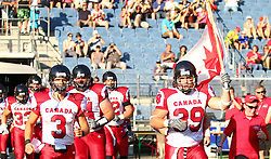 09.07.2011, UPC Arena, Graz, AUT, American Football WM 2011, Group B, France (FRA) vs Canada (CAN), im Bild Team Canada enters the field // during the American Football World Championship 2011 Group B game, France vs Canada, at UPC Arena, Graz, 2011-07-09, EXPA Pictures © 2011, PhotoCredit: EXPA/ T. Haumer