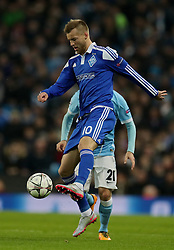 MANCHESTER, ENGLAND - Tuesday, March 15, 2016: FC Dynamo Kyiv's Andriy Yarmolenko in action against Manchester City during the UEFA Champions League Round of 16 2nd Leg match at the City of Manchester Stadium. (Pic by David Rawcliffe/Propaganda)