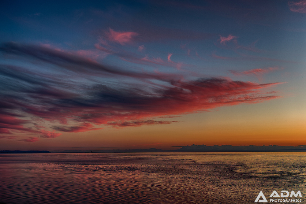 Shortly after sunset, the sky over Cook Inlet and the Tordrillo Mountains, summer, night