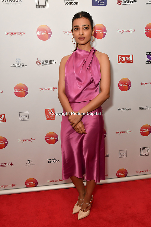 Radhika Apte is an actress attends the UK Asian Film Festival closing flame awards gala - Red Carpet at BAFTA 195 Piccadilly, on 7 April 2019, London, UK