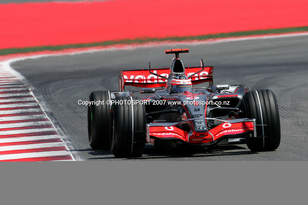 McLaren Mercedes' Fernando Alonso in action during the Spanish Grand Prix qualifying at Circuit de Catalunya, Barcelona, Spain on 12 May 2007. Photo: ATP/PHOTOSPORT  **NO AGENTS**<br />