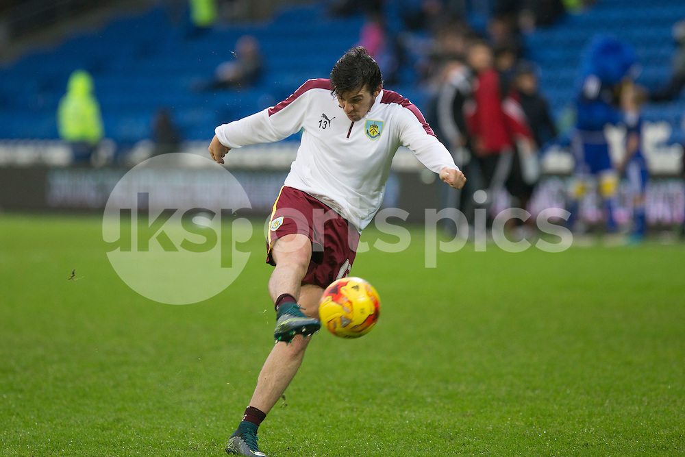Joey Barton of Burnley warms up ahead of the Sky Bet Championship match between Cardiff City and Burnley at the Cardiff City Stadium, Cardiff, Wales on 28 November 2015. Photo by Mark Hawkins.