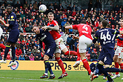 Middlesbrough defender Daniel Ayala (4) heads a free kick during the EFL Sky Bet Championship match between Middlesbrough and Derby County at the Riverside Stadium, Middlesbrough, England on 27 October 2018.