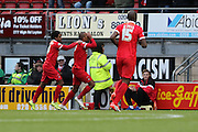 Jay Simpson of Leyton Orient opens the scoring on 10 minutes during Sky Bet League 2 match between Leyton Orient and AFC Wimbledon at the Matchroom Stadium, London, England on 28 November 2015. Photo by Stuart Butcher.