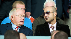 LIVERPOOL, ENGLAND - Saturday, September 26, 2009: Liverpool's co-owner George N. Gillett Jr. attends the Premiership match against Hull City at Anfield with a potential foreign investor. (Photo by: David Rawcliffe/Propaganda)