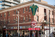 2018 FEBRUARY 12 - Hahn Building with Green Tortoise Hostel at 1st and Pike near Pike Place Market, Seattle, WA, USA. By Richard Walker