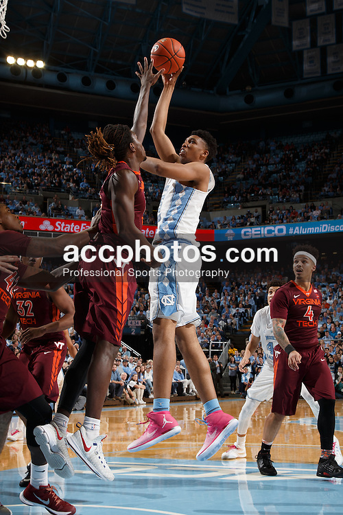 CHAPEL HILL, NC - JANUARY 26: Tony Bradley #5 of the North Carolina Tar Heels shoots the ball against the Virginia Tech Hokies on January 26, 2017 at the Dean Smith Center in Chapel Hill, North Carolina. North Carolina won 91-72. (Photo by Peyton Williams/UNC/Getty Images) *** Local Caption *** Tony Bradley