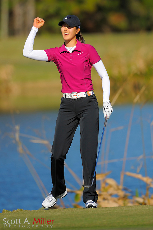 Dec. 7, 2008; Daytona, FL, USA; Michelle Wie celebrates a chip-in birdie on the 17th hole during the final round of LPGA Qualifying School on the Champions Course at LPGA International. ..©2008 Scott A. Miller