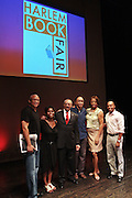 21 July 2011- Harlem, NY-l to r: Larry Wilmore, Jam Donaldson, Dr. Carlton E. Brown, Mel Watkins, Sabrina Watkins, and Dr. Khalil Gibran Muhammad at the 2011 Harlem Book Fair held along West 135th Street and at The Schomburg Center on July 23, 2011 in the village of Harlem, USA. Photo Credit: Terrence Jennings