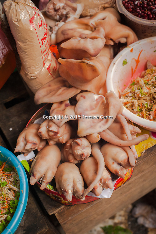 Pig's trotters and pig's ears in the markets in Sapa, VIetnam.