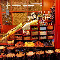 Mixed Dried Fruit, Nuts and Grains Stand at La Boqueria Market in Barcelona, Spain<br />