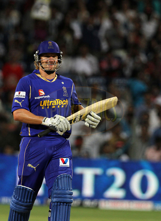 Rajasthan Royals player Shane Watson smiles after winning the match 52 of the Indian Premier League ( IPL) 2012  between The Pune Warriors India and the Rajasthan Royals held at the Subrata Roy Sahara Stadium, Pune on the 8th May 2012..Photo by Vipin Pawar/IPL/SPORTZPICS