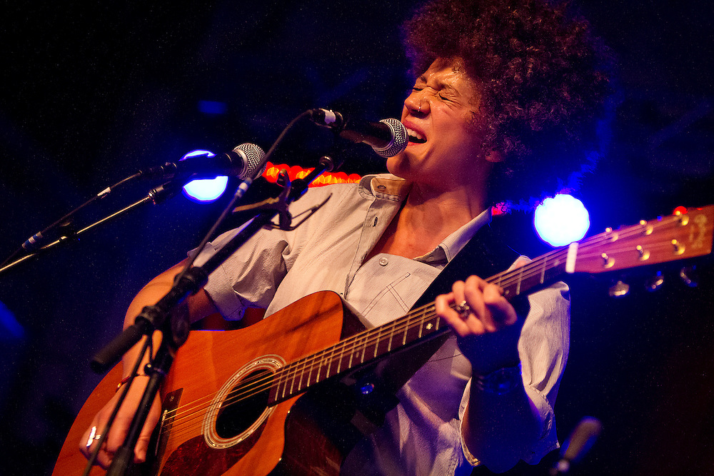 Chastity Brown belts out vocals during Minneapolis Mayor Betsy Hodges' inauguration party at the historic Thorp Building in Northeast Minneapolis, Saturday, January 11, 2014.