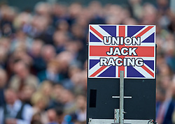 LIVERPOOL, ENGLAND - Thursday, April 6, 2017: A bookie's Union Jack sign, during The Opening Day on Day One of the Aintree Grand National Festival 2017 at Aintree Racecourse. (Pic by David Rawcliffe/Propaganda)
