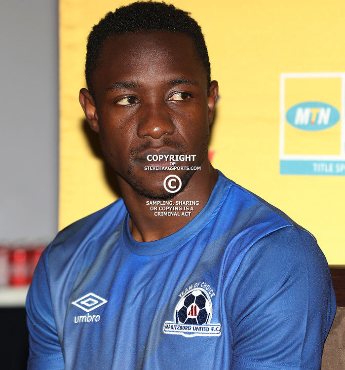 Evans Rusike of Maritzburg Utd during the MTN8 semi-final 2nd-leg Press Conference with the Head Coach and Selected players United,Harry Gwala Stadium in  Pietermaritzburg. 7th September -2017 (Photo by Steve Haag)