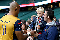 Tom Varndell of Bristol Rugby signs autographs for a young fan - Mandatory by-line: Robbie Stephenson/JMP - 03/09/2016 - RUGBY - Twickenham - London, England - Harlequins v Bristol Rugby - Aviva Premiership London Double Header