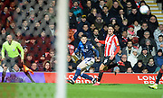 Nottingham Forest player Joe Lolley whips the ball into the box in the first half  during the EFL Sky Bet Championship match between Brentford and Nottingham Forest at Griffin Park, London, England on 28 January 2020.