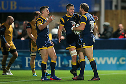 Max Stelling of Worcester Warriors scores a try - Rogan Thomson/JMP - 04/11/2016 - RUGBY UNION - Sixways Stadium - Worcester, England - Worcester Warriors v Bristol Rugby - The Anglo Welsh Cup.