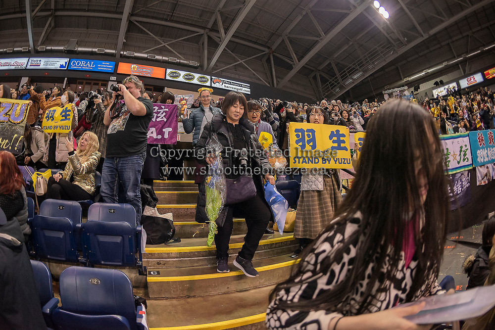 KELOWNA, BC - OCTOBER 25: Fans rise to their feet after the mens short program of Japanese figure skater Yuzuru Hanyu at Skate Canada International held at Prospera Place on October 25, 2019 in Kelowna, Canada. (Photo by Marissa Baecker/Shoot the Breeze)