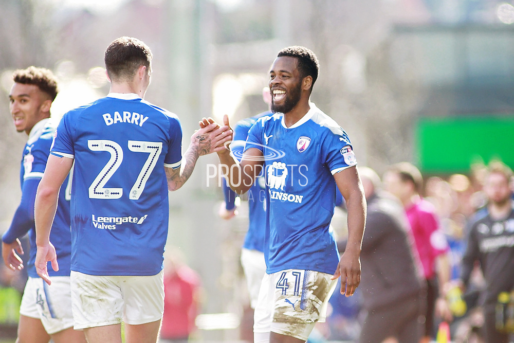 Chesterfield midfielder Zavon Hines (41) celebrates his goal  during the EFL Sky Bet League 2 match between Chesterfield and Notts County at the Proact stadium, Chesterfield, England on 25 March 2018. Picture by Nigel Cole.