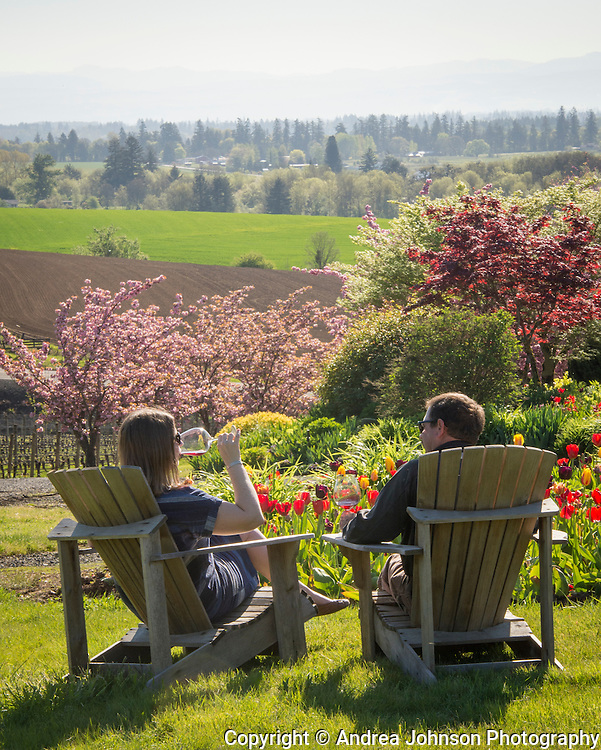 Spring in full bloom at Cristom Vineyards, Eola-Amity Hills, Willamette Valley, Oregon