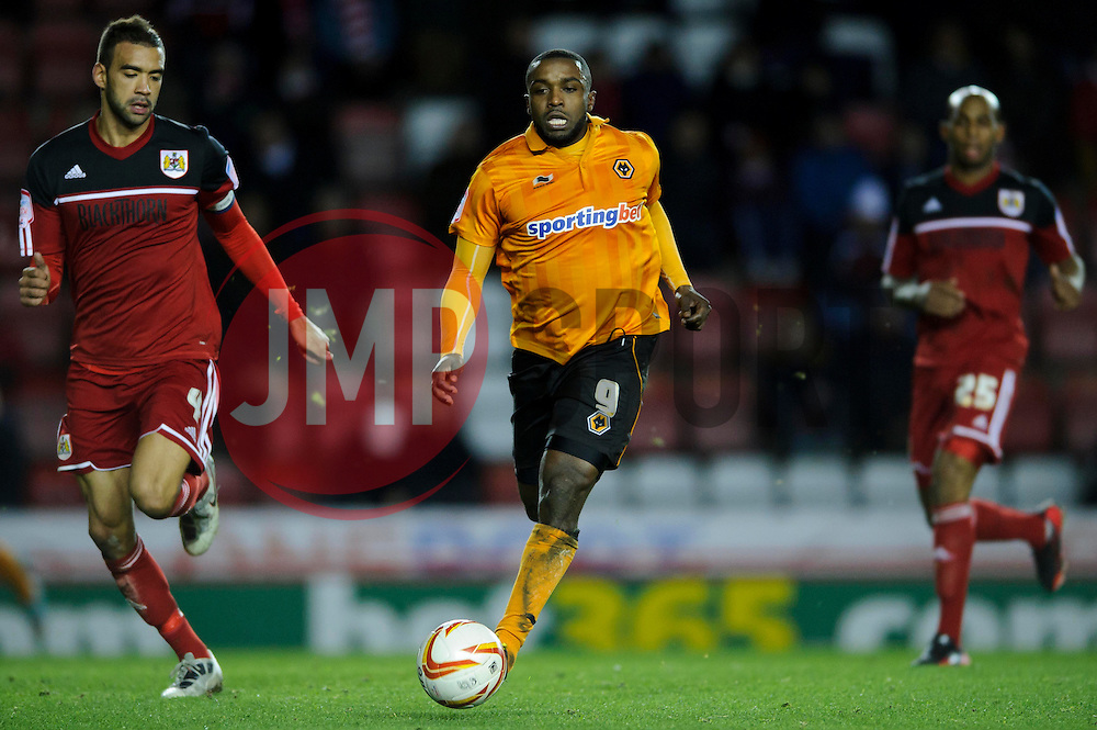 Wolves Forward Sylvan Ebanks-Blake (ENG) breaks during the second half marked by Bristol City Defender Liam Fontaine (ENG)  of the match - Photo mandatory by-line: Rogan Thomson/JMP - Tel: Mobile: 07966 386802 01/12/2012 - SPORT - FOOTBALL - Ashton Gate - Bristol. Bristol City v Wolverhampton Wanderers - npower Championship.