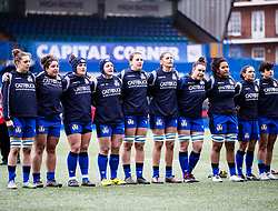 Italy Women during the anthems<br /> <br /> Photographer Simon King/Replay Images<br /> <br /> Six Nations Round 1 - Wales Women v Italy Women - Saturday 2nd February 2020 - Cardiff Arms Park - Cardiff<br /> <br /> World Copyright © Replay Images . All rights reserved. info@replayimages.co.uk - http://replayimages.co.uk
