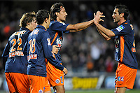 FOOTBALL - FRENCH LEAGUE CUP 2010/2011 - 1/4 FINAL - MONTPELLIER HSC v LILLE OSC - 10/11/2010 - PHOTO SYLVAIN THOMAS / DPPI - JOY HASAN KABZE (MON) AND MONTPELLIER PLAYERS AFTER GOAL