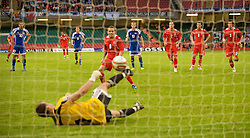 CARDIFF, WALES - Saturday, October 11, 2008: Wales' captain Craig Bellamy sees his penalty saved by Liechtenstein's goalkeeper Peter Jehle, this was the third consecutive penalty Wales have missed in World Cup Qualifying matches, during the 2010 FIFA World Cup South Africa Qualifying Group 4 match at the Millennium Stadium. (Photo by David Rawcliffe/Propaganda)