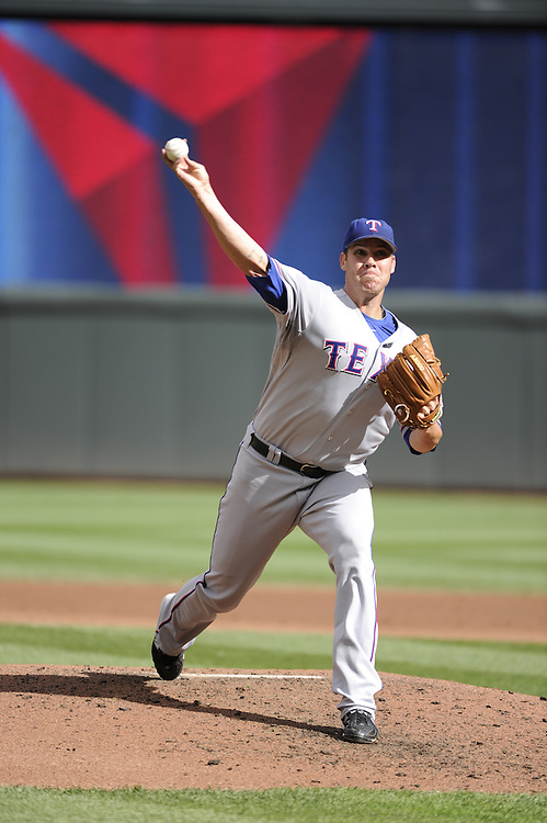MINNEAPOLIS - SEPTEMBER 04:  Colby Lewis #48 of the Texas Rangers pitches against Minnesota Twins on September 4, 2010 at Target Field in Minneapolis, Minnesota.  The Twins defeated the Rangers 12-4.  (Photo by Ron Vesely)