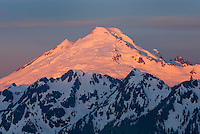Dawn on Mount Baker (elevation 10,778 feet (3,285 m) seen from Goat Mountain, North Cascades Washington USA