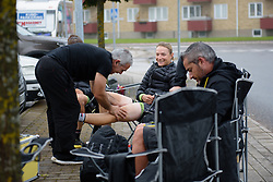 Doris Schweizer (Cylance Pro Cycling) gets a last minute massage before the start at the 141 km road race of the UCI Women's World Tour's 2016 Crescent Vårgårda women's road cycling race on August 21, 2016 in Vårgårda, Sweden. (Photo by Sean Robinson/Velofocus)