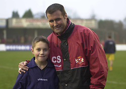 MASCOT WITH CARL SHUTT SCARBOROUGH GAME 2002  Kettering Town v Scarborough  Conference  Rockingham Toad, 14th Decemberr 2002