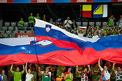 Supporters of Slovenia  celebrate after winning during basketball match between Slovenia and Macedonia at Day 6 in Group C of FIBA Europe Eurobasket 2015, on September 10, 2015, in Arena Zagreb, Croatia. Photo by Vid Ponikvar / Sportida