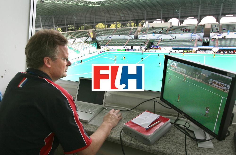 Kuala Lumpur:  Richard Wilson,  Umpires Development Manager on his job of Video analysing during the Samsung Hockey Men Champions Trophy on 09 Dec 2007. Photo:GNN/Vino John.