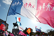 """France, Paris, 16 October 2016. Protest March """"MANIF POUR TOUS"""". Manif Pour Tous was originally the main group of associations that opposed against the law project of the marriage of same sex. Since the enactment of the law in 2013, the group's opposition widened to include LGBT parenting, Assisted reproductive technology and Surrogacy."""