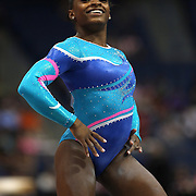 Simone Biles, Spring, Texas, in action during the Floor Exercise during the Senior Women Competition at The 2013 P&G Gymnastics Championships, USA Gymnastics' National Championships at the XL, Centre, Hartford, Connecticut, USA. 15th August 2013. Photo Tim Clayton