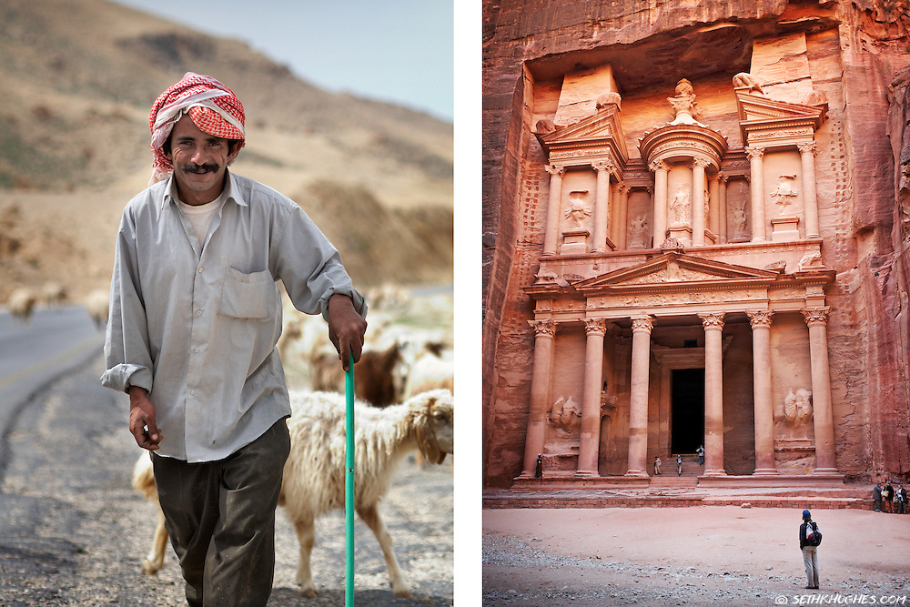 A shepherd in the Holy Land and a view of The Treasury in Petra, Jordan.
