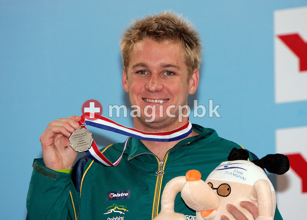 Brenton RICKARD of Australia wins the silver medal in the men's 100m Breaststroke final during day two of the 8th FINA World Swimming Championships (25m) held at Qi Zhong Stadium April 6th, 2006 in Shanghai, China. (Photo by Patrick B. Kraemer / MAGICPBK)