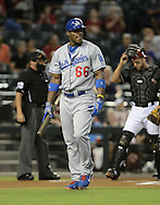 Jul 10, 2013; Phoenix, AZ, USA;  Los Angeles Dodgers outfielder Yasiel Puig (66) at bat against the Arizona Diamondbacks at Chase Field.  The Dodgers defeated the Diamondbacks 7-5 in extra innings.  Mandatory Credit: Jennifer Stewart-USA TODAY Sports