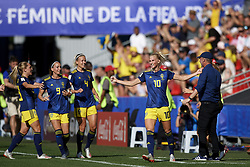 June 29, 2019, Rennes, France: SOFIA JAKOBSSON of Sweden celebrates after scoring her sides first goal during the 2019 FIFA Women's World Cup Quarter Final. Sweden ended Germany's hopes of a third women's World Cup win, coming from behind for a surprise 2-1 quarter-final victory on Saturday thanks to goals from S. Jakobsson and S. Blackstenius. (Credit Image: © Jose Breton/NurPhoto via ZUMA Press)