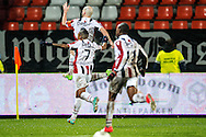 Onderwerp/Subject: Willem II - Eredivisie<br /> Reklame:  <br /> Club/Team/Country: <br /> Seizoen/Season: 2012/2013<br /> FOTO/PHOTO: Hans MULDER (TOP) of Willem II celebrating his goal with Genaro SNIJDERS (L) of Willem II and Virgil MISIDJAN (FRONT) of Willem II. (Photo by PICS UNITED)<br /> <br /> Trefwoorden/Keywords: <br /> #02 $94 ±1342781806743<br /> Photo- & Copyrights © PICS UNITED <br /> P.O. Box 7164 - 5605 BE  EINDHOVEN (THE NETHERLANDS) <br /> Phone +31 (0)40 296 28 00 <br /> Fax +31 (0) 40 248 47 43 <br /> http://www.pics-united.com <br /> e-mail : sales@pics-united.com (If you would like to raise any issues regarding any aspects of products / service of PICS UNITED) or <br /> e-mail : sales@pics-united.com   <br /> <br /> ATTENTIE: <br /> Publicatie ook bij aanbieding door derden is slechts toegestaan na verkregen toestemming van Pics United. <br /> VOLLEDIGE NAAMSVERMELDING IS VERPLICHT! (© PICS UNITED/Naam Fotograaf, zie veld 4 van de bestandsinfo 'credits') <br /> ATTENTION:  <br /> © Pics United. Reproduction/publication of this photo by any parties is only permitted after authorisation is sought and obtained from  PICS UNITED- THE NETHERLANDS