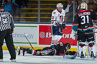 KELOWNA, CANADA - SEPTEMBER 22: Libor Zabransky #7 of the Kelowna Rockets lies on the ice after a high stick by Quinn Benjafield #22 of the Kamloops Blazers on September 22, 2017 at Prospera Place in Kelowna, British Columbia, Canada.  (Photo by Marissa Baecker/Shoot the Breeze)  *** Local Caption ***