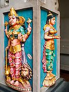 29 DECEMBER 2014 - SINGAPORE, SINGAPORE:   Hindu deities on a column in the Sri Srinivasa Perumal Temple on Senrangoon Road in Singapore.  PHOTO BY JACK KURTZ