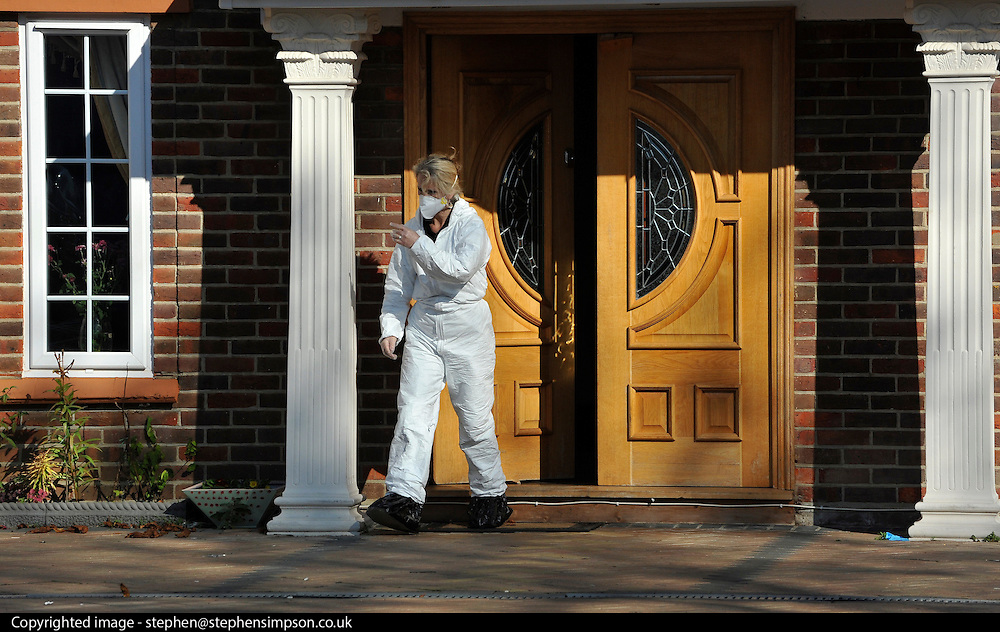 under license to London News pictures.  10/10/2010. Police officers at the house. Detectives have launched a murder investigation and arrested a 16-year-old and another man after a woman died following an assault at a house.Police were called to an address in Wendover Road, Aylesbury, Bucks, on Saturday evening and arrested the teenager and a 21-year-old man at the scene on suspicion of murder.The suspects are currently in custody at Aylesbury police station.The victim, a 40-year-old woman who lives at the address where the incident took place, was taken to Stoke Mandeville Hospital with serious injuries but died shortly after 8pm.
