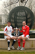 Martin Corry [left] and Gareth Thomas, centre of attention, as they pose for the cameras at the  launch of the 2006, RBS Six Nations Rugby, Press Conference, held at the Hurlingham Club, Fulham. London ENGLAND, on the 25.01.2006    © Peter Spurrier/Intersport Images - email images@intersport-images.   [Mandatory Credit, Peter Spurier/ Intersport Images].