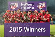 Lancashire Lightning celebrate winning the 2015 NatWest T20 Blast final. between Northants Steelbacks and Lancashire Lightning at Edgbaston, Birmingham, United Kingdom on 29 August 2015. Photo by David Vokes.