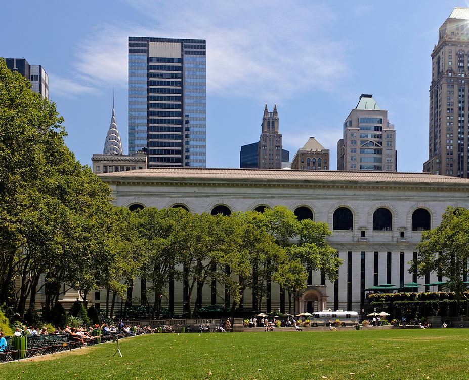 Bryant Park, privately-managed public park located Manhattan, New York City, New York, USA